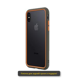 Бампер RhinoShield CrashGuard NX серый с оранжевым для Apple iPhone Xs Max